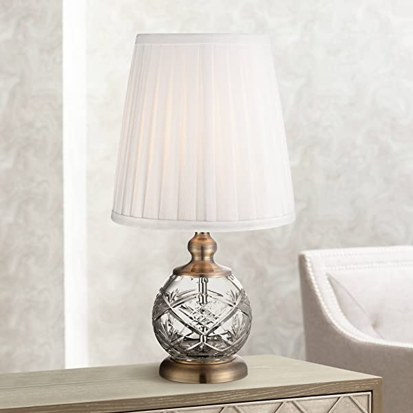 Ida Traditional Accent Table Lamp 15 High Crystal Sphere Brass Pleated White Empire Shade For Bedroom Bedside Nightstand Regency Hill