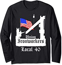 Union Ironworkers Local 40 American Flag NY Long Sleeve T-Shirt