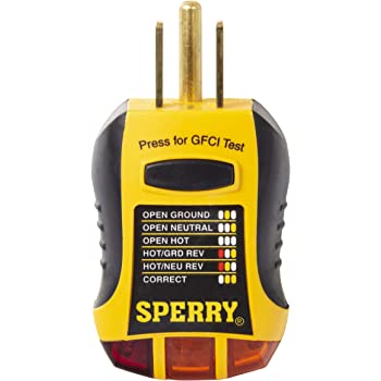 Sperry Instruments Gfi6302 Gfci Outlet Receptacle Tester Standard 120v Ac Outlets 7 Visual Indication Wiring Legend Home Professional Use Yellow Black Multi Testers Amazon Com
