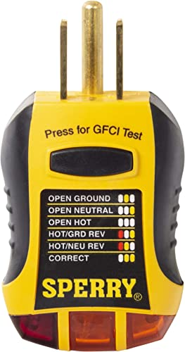 Sperry Instruments GFI6302 GFCI Outlet / Receptacle Tester, Standard 120V AC Outlets, 7 Visual Indication / Wiring Le...
