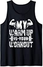 Interstate Apparel Inc Mens Red Your Workout is My Warmup Black Tank Top Black