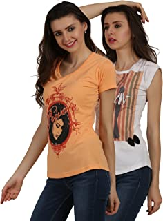 SKiDlers Women's Multicoloured Cotton Tops Tees T Shirts