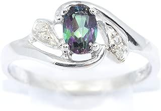 Natural Mystic Topaz & Diamond Oval Ring .925 Sterling Silver Rhodium Finish