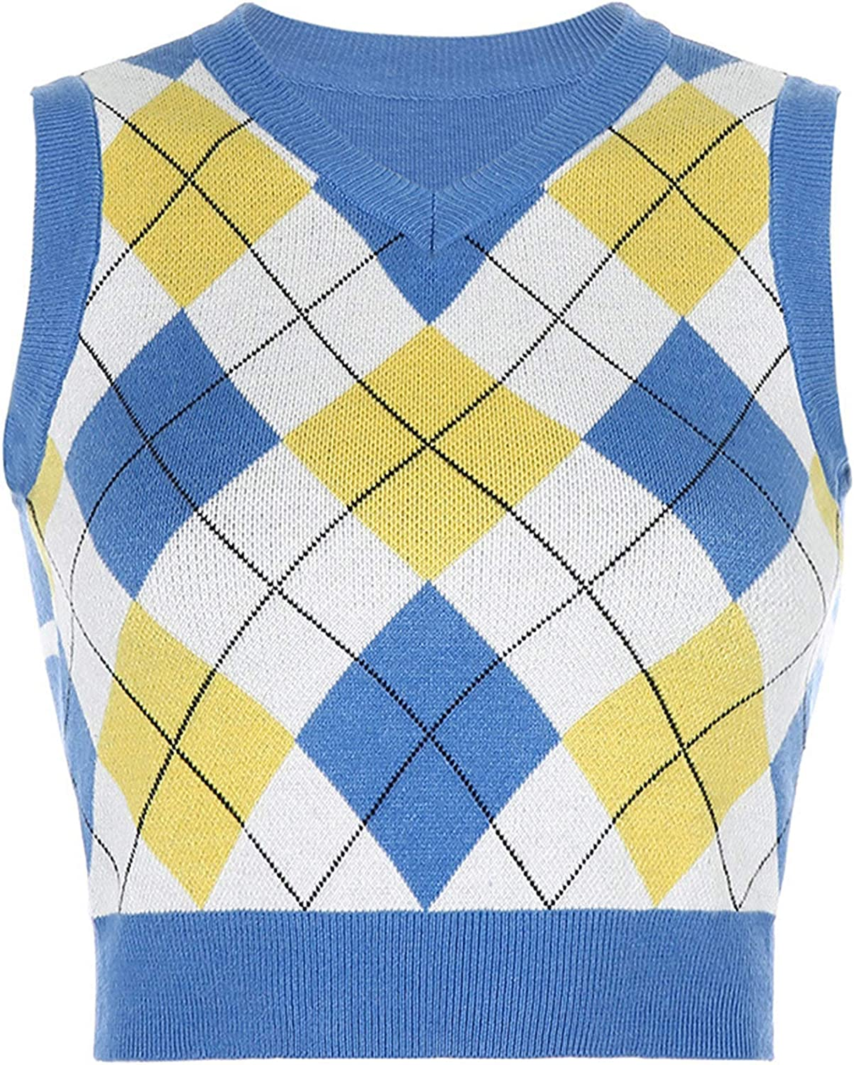 Women Plaid Knitted Sweater Vest Preppy Style Knitwear Tank Top V-Neck Sleeveless Casual Pullover Tank Tops (Blue 3,Large)