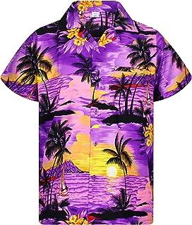 purple and yellow hawaiian shirts
