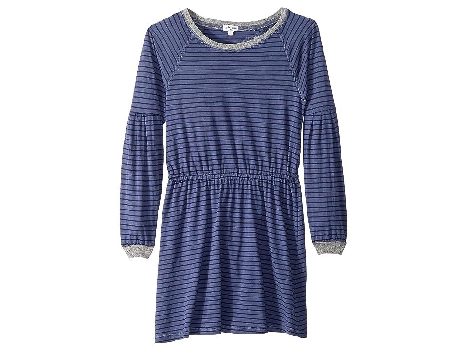 Splendid Littles Yarn-Dyed Long Sleeve Midi Dress (Big Kids) (Blue Indigo) Girl