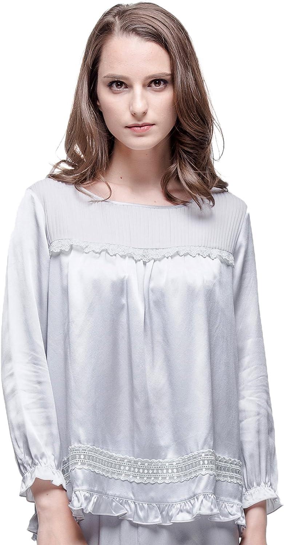 Chesslyre Women's Silk Pajamas Sets,Lace Trim Pajama Capri Pants for Women Sets