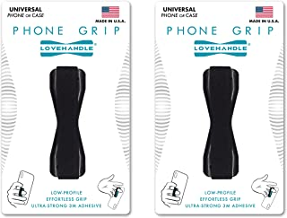 Love Handle Cell Phone Grip Holds Device with just a Finger - Ultra Slim Pocket Friendly Finger Strap for iPhone and Mini Tablet - Grip it Securely for Texting, Photos and Selfies (Black 2-Pack)