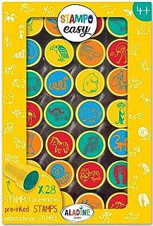 Aladine - Stampo Easy Animaux de la Savane - Kit de Tampons Pré-encrés Couleur - Jouets et Jeux Créatifs - Boîte de 28 Tam...