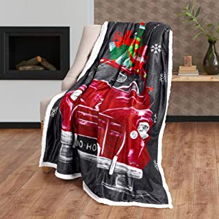Safdie & Co. Christmas Photoreal 50X60 North Pole Truck Ultra Soft Throw, Grey