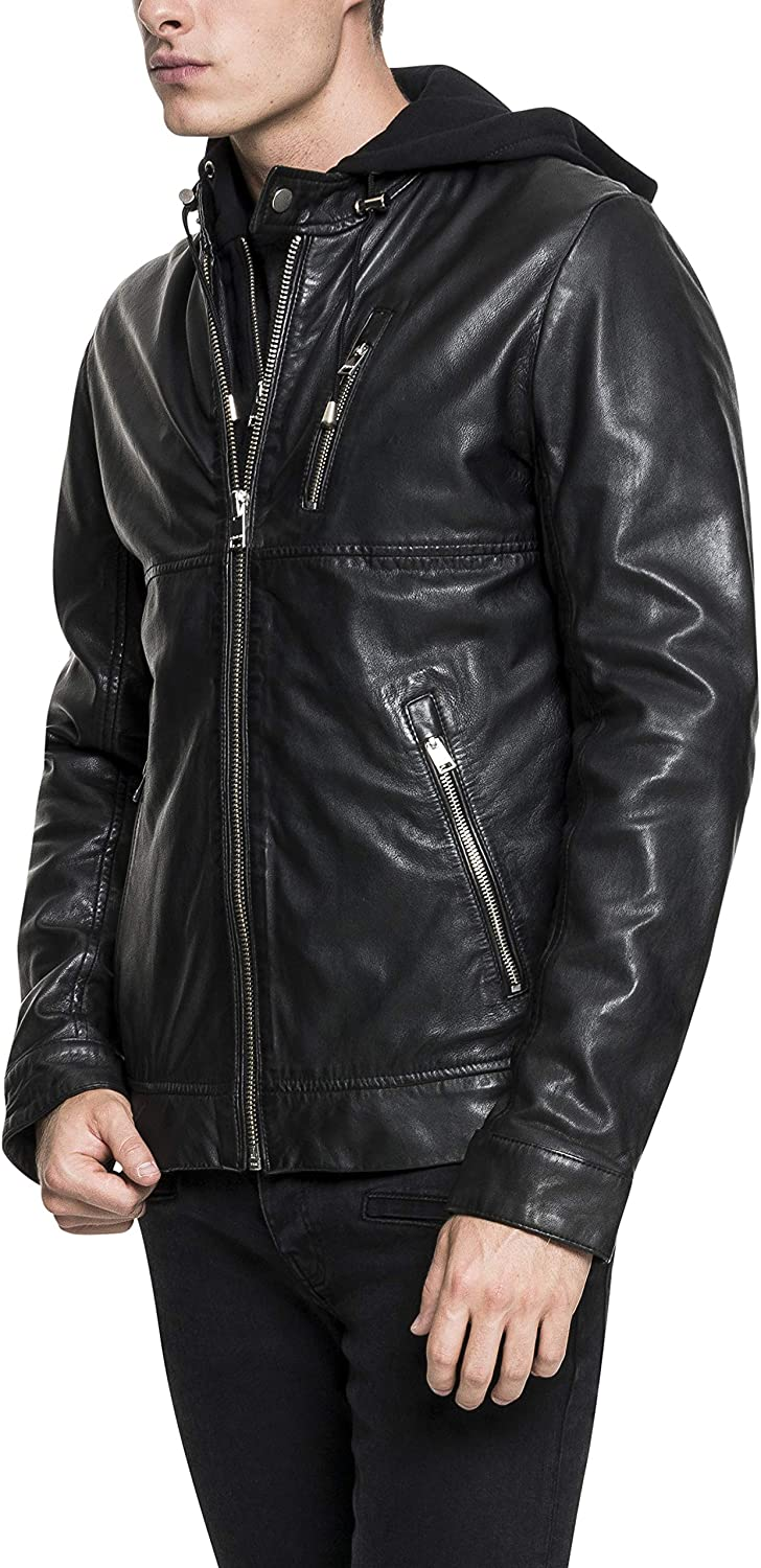 LAMARQUE Men's Slayer Lambskin Leather Moto Jacket with Removable Hoodie