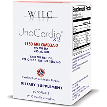 WHC - UnoCardio X2 - Triglyceride Omega-3 Fatty acids - 1270 mg Fish Oil Supplement (622 mg EPA / 420 mg DHA/Total 1150 mg of Omega 3 per Serving)