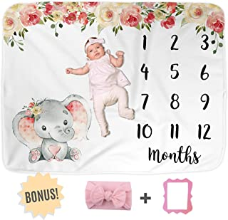"""Elephant Baby Monthly Milestone Blanket, Name Month Blankets Girl, Months Photo Props Infant Newborn Photography Mat, Floral Pink Nursery Shower Gift New Moms, Track Growth (50""""x40"""", Minky)"""