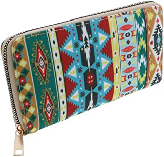 Wallet with Aztec Fabric Tribal Print Long Wallet Clutch