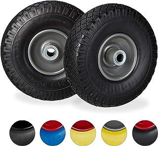 Relaxdays Steekwagenwiel, 2 stuks, lekvrije massief rubberen banden, 3,00-4 inch stalen velg, 20 mm as, 100 kg, 260 x 85 m...