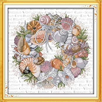 DIY 11CT Stamped Cross Stitch Kits Pre-Printed Embroedery Kit Cross-Stitch Sets Needlework Easy Pattern-Sunflower and Cock