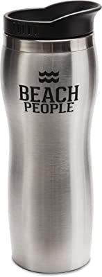 Pavilion Gift Company We Beach People Double Walled Stainless Steel Travel Mug with Suction on Cap, Silver
