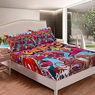Erosebridal Hip Hop Fitted Sheet Deep Pocket, Graphic Bed Sheet Queen Size for Kids Boys Girls Teens, Graffiti Spray Artwo...