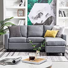 HONBAY Convertible Sectional Sofa Couch Modern Linen Fabric L-Shape Couch for Small Space Grey (Grey)