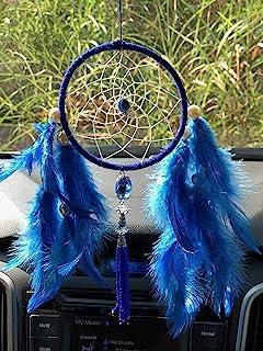 Rooh Evil Eye and Owl Feather Handmade Dream Catcher (9 cm x 0.5 cm x 22 cm, Blue)