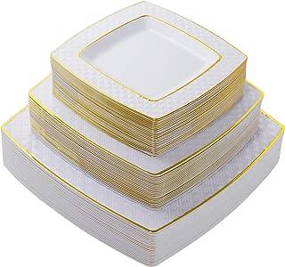 75 Pieces Gold Plastic Plates, White Plates with Gold Rim,Diamond Square Plates, Disposable Elegant plates Set,Includes: 25 Dinner Plates 9.5