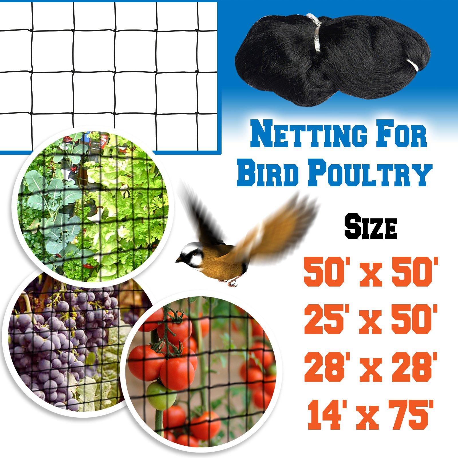 BenefitUSA Bird Net for Bird Netting Pens Avaiary Game Poultry Mesh Black 14 X 75
