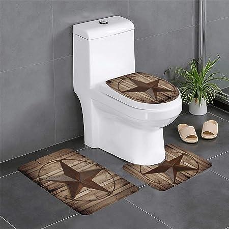 Texas Star Bathroom Rugs, 3 Piece Western Rustic Star on Barn Door Bathroom Rugs and Mats Non-Slip Bath Rugs Sets Water Absorbent Bath Rug Toilet Seat Cover U-Shaped Toilet Mat Floor Rug