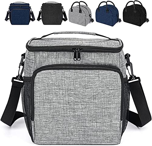 discount Large Insulated Lunch Bag for Women Men,Reusable Lunch Box for Office popular Picnic Beach,Leakproof Cooler Tote online Bag Freezable Lunch Container Bag with Adjustable Shoulder Strap for Adult Kids, Square Grey sale