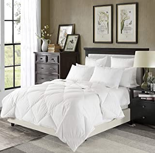 downluxe Lightweight White Down Comforter King Size - Summer Weight Down Duvet Inserts,230 Thread Count 550+ Fill Power,100% Cotton Shell Down Proof with Tabs