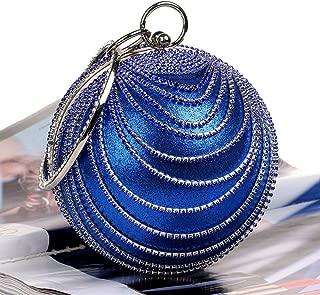 Redland Art Women's Fashion Sparkly Round Clutch Bag Wristlet Evening Handbag Catching Purse Bag for Wedding Party (Color : Blue)