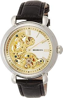 [ブルッキアーナ]BROOKIANA オリジン クレッシェンドムーン 自動巻き シルバー×ブラックレザー BA2602-GPWH メンズ 腕時計