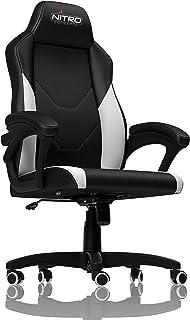 Nitro Concepts C100 Silla de Gaming - Silla de Oficina - Silla de Escritorio - Cuero sintético de PU - Negro/Blanco