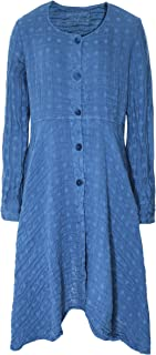 Grizas Women's Flute Linen Blend Longline Jacket Blue