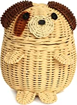 G6 COLLECTION Dog Rattan Storage Basket with Lid Decorative Home Decor Hand Woven Shelf Organizer Cute Handmade Handcrafte...