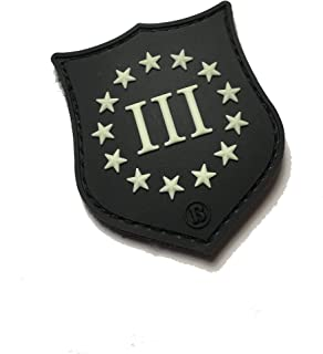 """The Tactical III Percent PVC Glow-in-The-Dark Crusader Shield Patch 2"""" x 1.5."""