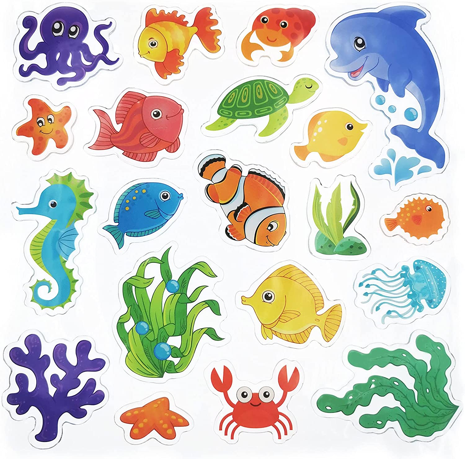 20 Pieces Sea Animals Direct sale of manufacturer Thick Max 81% OFF Ocean Clings Window Gel D