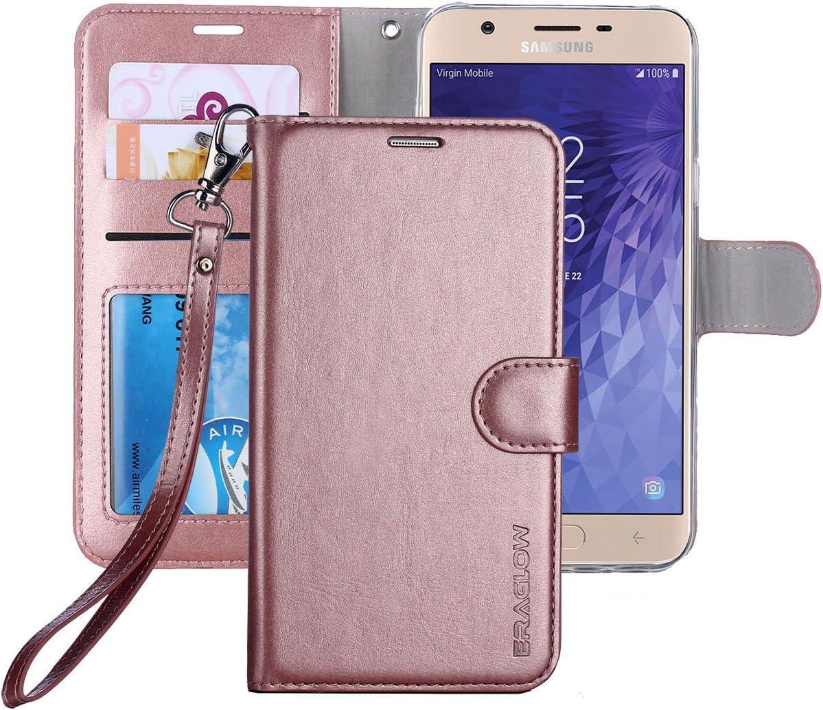 Galaxy J7 2018 Case/J7 V 2nd case/J7 Refine/J7 Star/J7 Aero/J7 Crown/J7 Top/J7 Aura/J7 Eon Case, ERAGLOW Luxury PU Leather Wallet Flip Protective Case Cover for Samsung Galaxy J737 (Rose Gold)