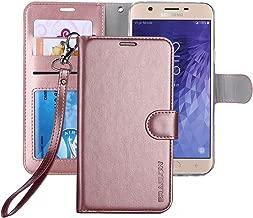 ERAGLOW Galaxy J7 2018 Case/J7 V 2nd case/J7 Refine/J7 Star/J7 Aero/J7 Crown/J7 Top/J7 Aura/J7 Eon Case, Luxury PU Leather Wallet Flip Protective Case Cover for Samsung Galaxy J737 (Rose Gold)