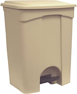 Continental 18BE, 18-Gallon Step-On Polypropylene Waste Receptacle, Rectangular, Beige (Case of 1)
