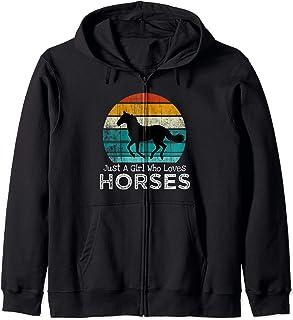 Just A Girl Who Loves Horses Horse Gift Girls Teens Women Zip Hoodie