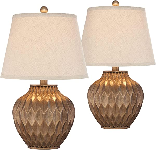 Buckhead Modern Accent Table Lamps Set Of 2 Warm Bronze Geometric Urn Tapered Drum Shade For Living Room Family Bedroom Office 360 Lighting