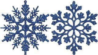 Best Sea Team Plastic Christmas Glitter Snowflake Ornaments Christmas Tree Decorations, 4-inch, Set of 36, Blue Reviews