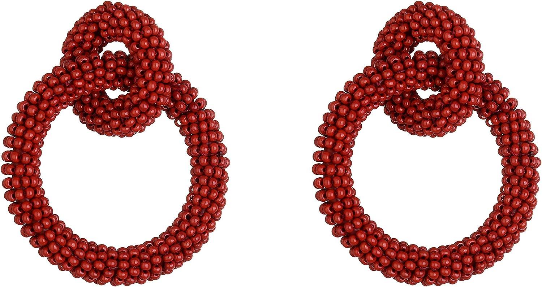 CHOGLE Mini Glass Beaded Circle Drop Dangle Earrings-Handmade Statement Earring for Women