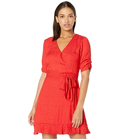 1.STATE Cinched Sleeve Tonal Leopard Wrap Front Dress (Cherry Red) Women