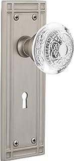 "Nostalgic Warehouse 751510 Mission Plate with with Keyhole Crystal Egg & Dart Knob Privacy, Backset Size: 2.375"", Satin Ni..."