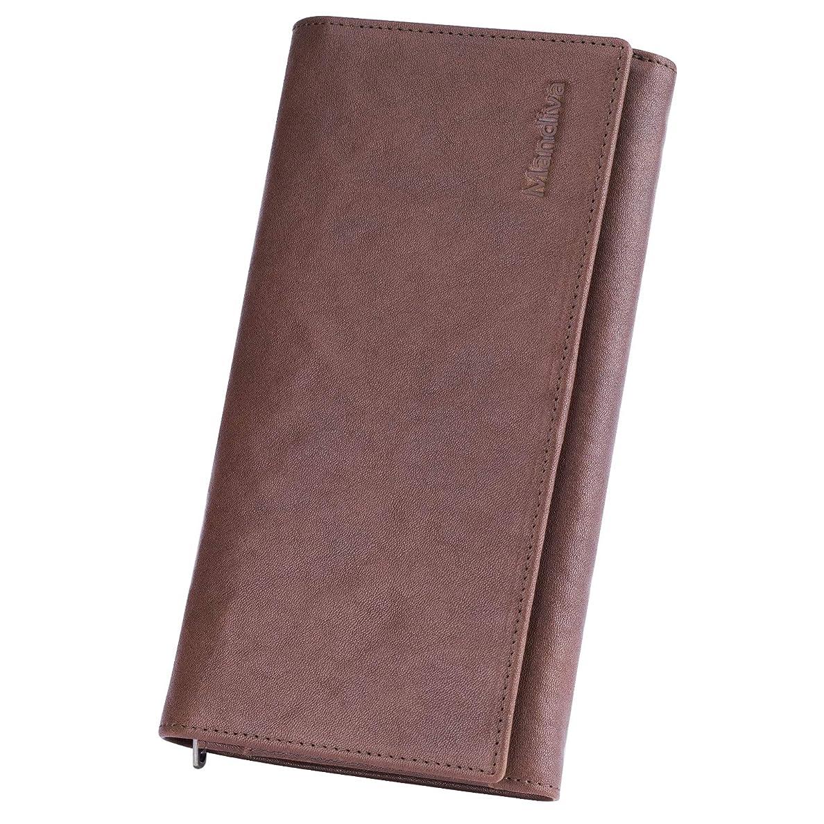 褐色専門知識フェンス長財布 メンズ 二つ折り 本革 財布 植鞣革