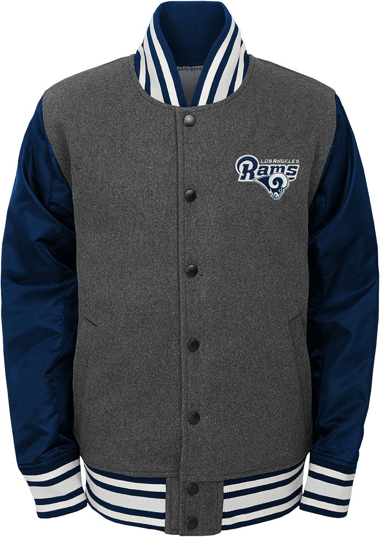 NFL Los Angeles Rams Youth Boys Letterman  Varsity Jacket Charcoal Grey, Youth Medium(10-12)