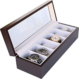 Solid Wood Watch Box Organizer with Glass Display Top by Case Elegance