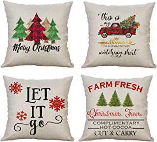 ECOLIVZIT Christmas Pillow Covers 18x18 Inch Merry Christmas Snowflake Xmas Trees Holiday Decorative Cushion Case Cotton Linen Beige 4 Pack