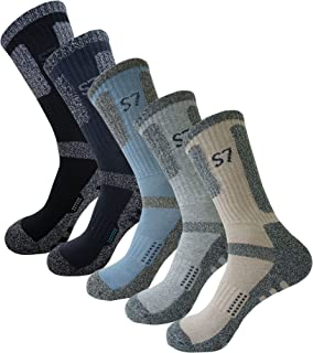 SEOULSTORY7 5pack Men's Climbing DryCool Cushion Hiking/Performance Crew Socks